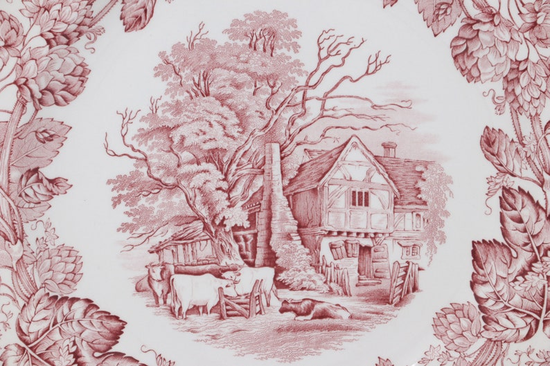 Victorian Series reproduction of 19th century plate Vintage MINT 10 Spode Archive collection plate English red transferware Rural Scenes