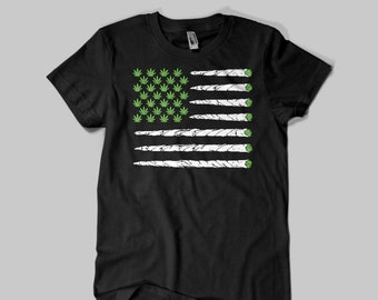 Cannabis Weed Pot Medical Marijuana 420 Red Ashes Flag Graphic T-Shirt USA Printed Cotton Unisex