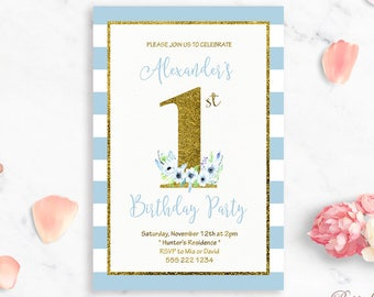 Boys Birthday Invitation Printable Birthday Invitation 1st Birthday Invite Birthday Party Invitation 1 Birthday Invitation Boy Birthday