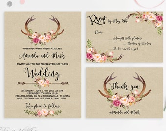 Kraft Wedding Invitation Printable Antlers Wedding Invitation Suite Blush Deer Wedding Invite Rustic Wedding Invitation Peonies Wedding