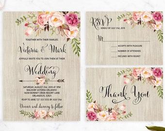 Floral Wedding Invitation Etsy