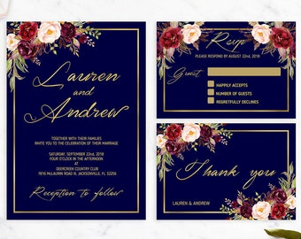 Navy Wedding Invitation Printable Floral Wedding Invitation Suite Blush Wedding Rustic Wedding Navy Blue Wedding Invitation Boho Wedding