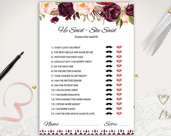 Bride Or Groom Game He Said She Said Bridal Shower Games Printable Floral Wedding Shower Game Template Shower Activities Instant Download