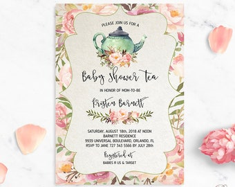 Tea party baby shower invitation etsy tea party baby shower invitation teapot baby shower teapot invitation printable baby shower invite floral baby shower template boho shower filmwisefo