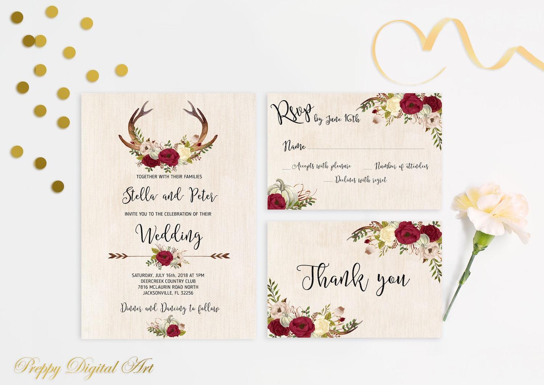 Floral Wedding Invitation Printable Antlers Wedding Invitation | Etsy