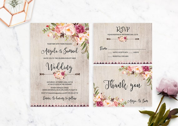 photograph relating to Printable Rustic Wedding Invitations identified as Rustic Marriage ceremony Invitation Printable Marriage Invites Floral Suite Marriage ceremony Invite Boho Peonies Bohemian Marriage ceremony Fixed Autumn Electronic History