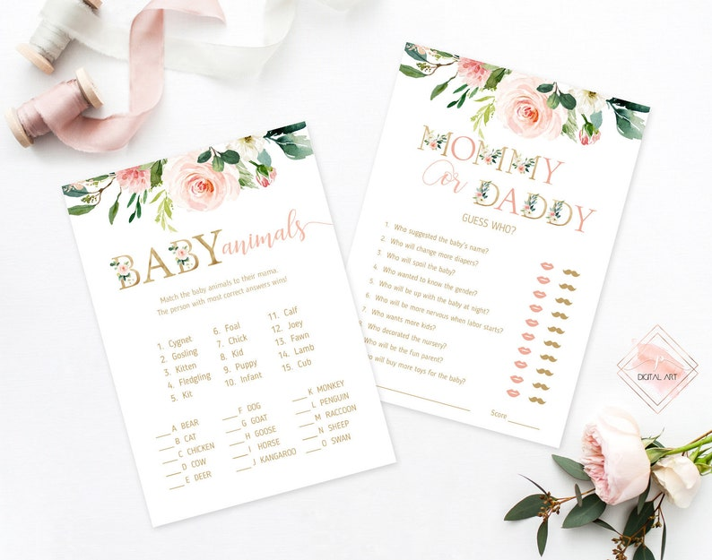 Blush Pink Floral Baby Shower Games Package Printable Baby Shower Games Set Gold Blush Baby Shower Activities Party Shower Games Bundle NGS1