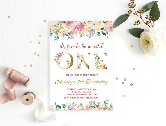 Floral 1st Birthday Invitation Card Girl First Birthday Invite Watercolor Flowers One Birthday Invite Gold Wild One Printable Digital File