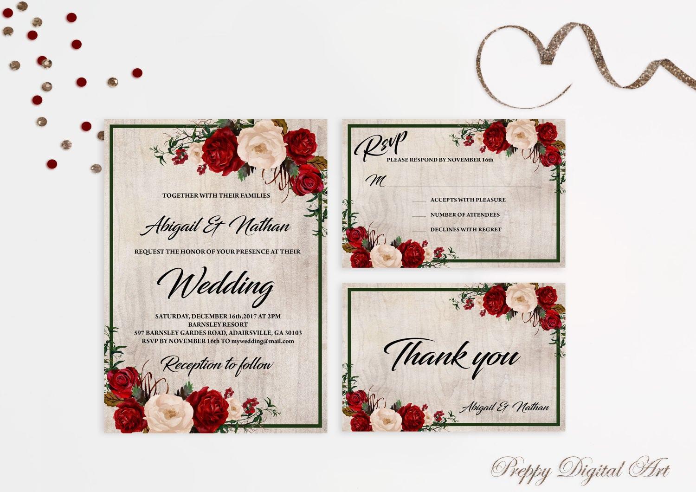 christmas wedding invitation printable wedding invitations