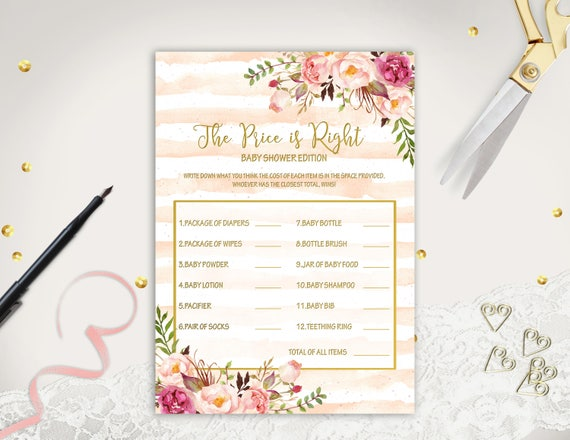 The Price Is Right Game Printable Baby Shower Game Boho Baby Etsy