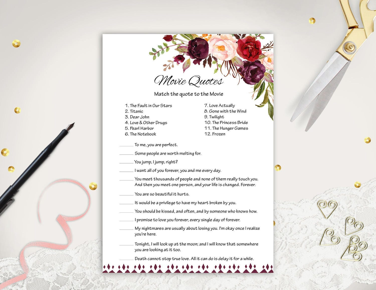 Floral Movie Quote Game Printable Bridal Shower Game Boho