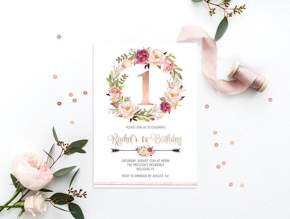 First Birthday Invitation Printable Birthday Invitation Blush Floral