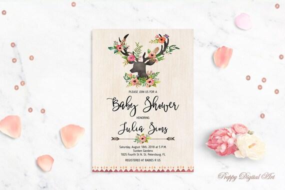 Hirsch Baby-Dusche Einladung druckbare Baby Dusche laden Buck