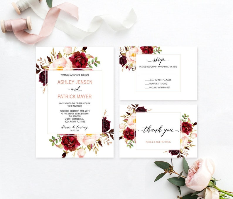graphic about Wedding Cards Printable known as Burgundy Wedding day Invitation Printable Marriage ceremony Invite Marsala Blush Wedding ceremony Rose Gold Marriage Invitation Floral Progressive Marriage ceremony Invitation Fixed