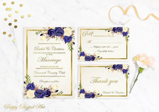 Navy Blue Wedding Invitation Printable Navy Wedding Invitation Gold