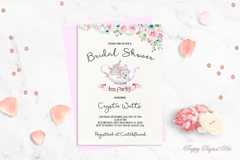 Bridal Shower Tea Party Invitation Printable Bridal Tea Party   Etsy