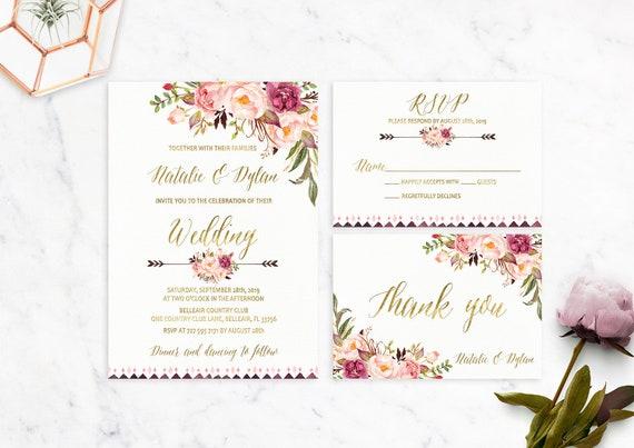 Blumen Hochzeit Einladung Druckbare Hochzeit Einladung Suite Etsy