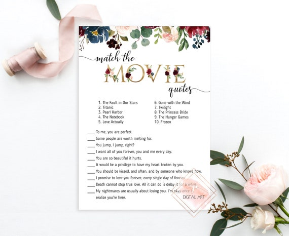 match the movie quotes bridal shower game floral wedding