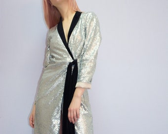 adc1b17fdc4 Silver sequins blazer dress. Casual stylish blazer dress. Disco style blazer.  Prom dress. Party dress. 2019. Tuxedo sequins dress