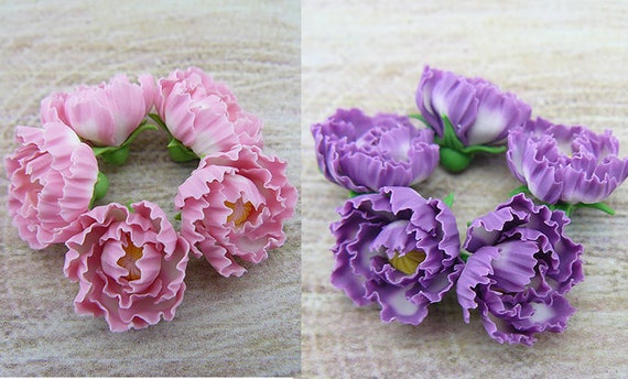 Pink Or Purple Peonies Flowers Of Polymer Clay Polymer Clay Etsy