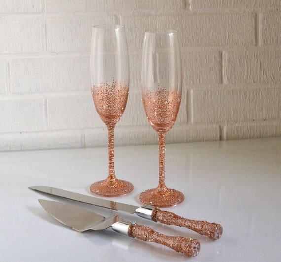 Rose Gold Wedding Glasses Amp Cake Server Set Cake Knife