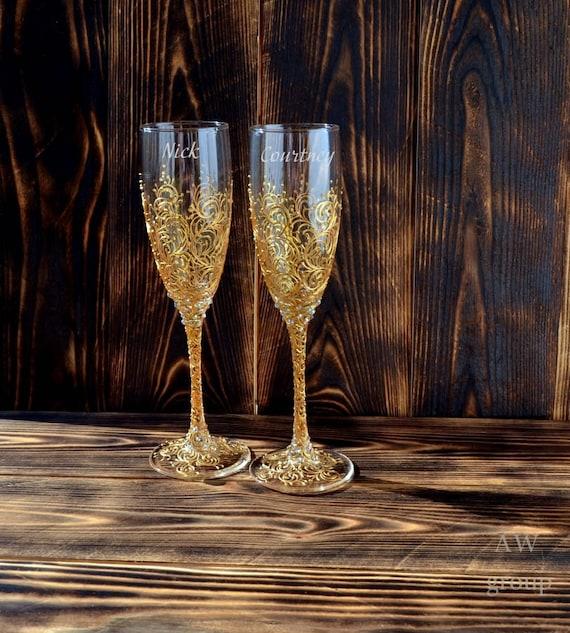 Gold Hochzeit Sektgläser Hochzeit Champagner Gläser Gold Toasten Flöten Gold Hochzeits Set Von 2 Personalisierte Hochzeit Dekor Braut Bräutigam