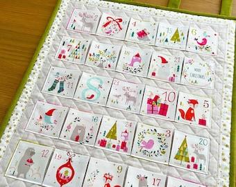 Quilted Advent Calendar, Fabric Advent Calendar, Christmas Holiday Countdown, Reusable Christmas Calendar, Wall Hanging Pocket Advent