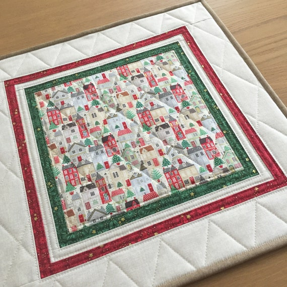 Christmas Table Runner Quilt.Christmas Quilted Table Topper Holiday Square Table Runner Quilted Christmas Wall Hanging Christmas Table Mat Holiday Candle Mat