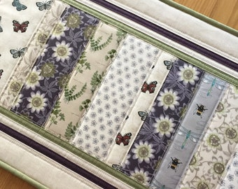 Butterfly Table Runner, Bumble Bee Quilted Table Runner, Fabric Floral Table Topper, Quilted Table Mat, Gardeners Gift, Mothers Day Gift