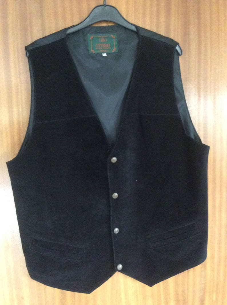 7c7f671201a45 Ciro Citterio black suede leather waistcoat XL