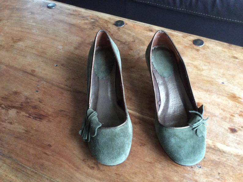 Size: U.K Green Suede Shoes Ladies 4  Eur Vintage 37  US 6.5 Bershka