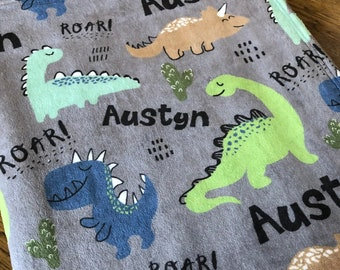 Personalized Baby Blanket, Dino T-Rex Roar Name Blanket, Personalized Dinosaur Blanket, Dino Blanket, Dino Party Gift, Dinosaur Theme, BEST