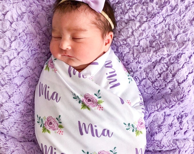 Personalized Baby Blanket, Floral Print Swaddle, Baby Name Blanket, Baby Girl Receiving Blanket, Shower Gift **Hat and Bow Sold Separately**