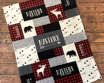 Personalized Baby Blanket Quilt, Newborn Swaddle, Red and Black, Woodland, Adventure, Little Man, Buffalo Plaid, Bear, Moose