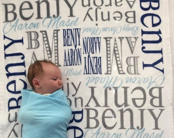 Personalized Baby Blanket, Newborn Swaddle Blanket, Baby Girl blanket, Baby Boy blanket, Personalize Name Blanket, Receiving Blanket