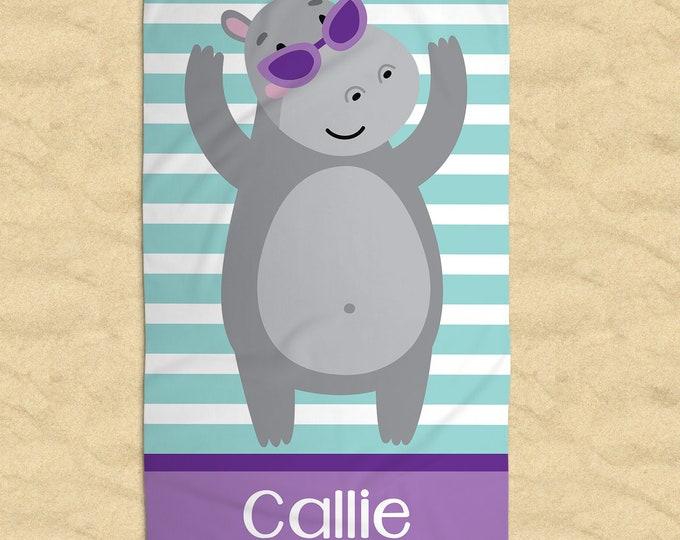 Personalized Hippo Beach Towel, Baby Hippo Monogram Towel, Fiona the Hippo, Swim Towel, Birthday Gift, Nap Mat, Summer Camp Towel