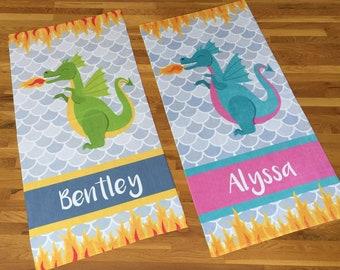 Personalized Dragon Beach Towel, Dragon, Monogram Towel, Camp Towel,  Swim Towel, Pool Towel, Birthday Gift, Back to School, Nap Mat