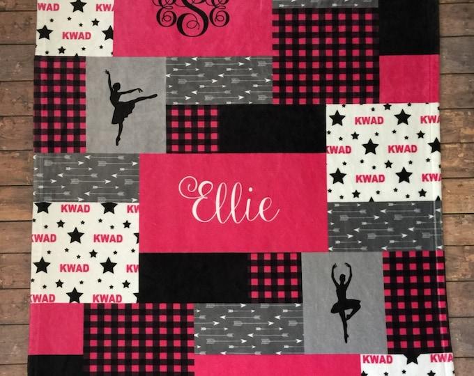 Personalized Dance Blanket, Gymnastics Blanket, Cheer Team Blanket, Buffalo Plaid, Velveteen Fleece Quilt Print, Customize Name Blanket
