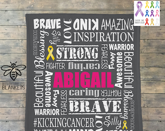 Personalized Cancer Blanket, Pediatric Cancer, Childhood Cancer, Cancer Sucks, Cancer Comfort Blanket, Cancer Ribbon Blanket