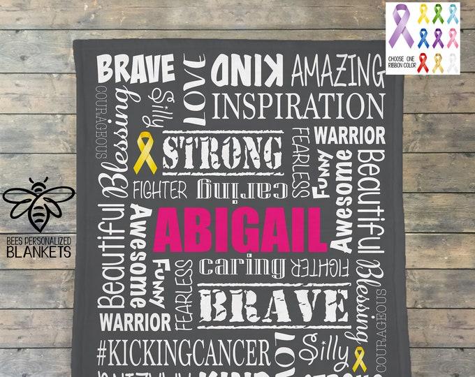 Personalized Cancer Blanket, Pediatric Cancer, Childhood Cancer, Cancer Sucks, Cancer Comfort Blanket, Cancer Ribbon Blanket