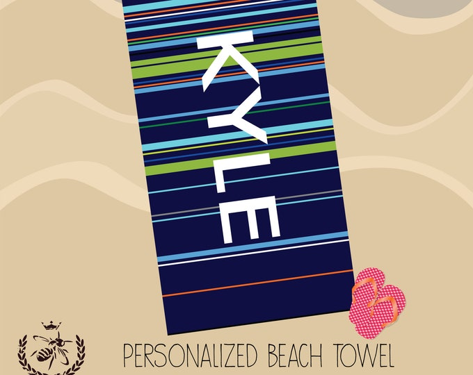 Personalized Beach Towel, Stripes Towel, Monogram Towel, Teacher Gift, DAD Gift, Bridesmaid, Pool Towel, Birthday Gift, Back to School