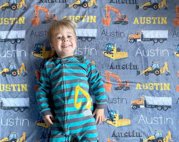 Personalized Baby Blanket, Trucks Tractors Dump Truck Blanket, Dig It Blanket, Construction Site, Baby Name Blanket, Baby Boy, To