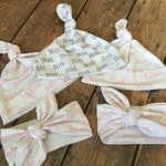 ADD ON * Personalized Knotted Headband or Knotted Baby Beanie, Swaddle Set, Gift Set, Baby Shower Gift, Baby Girl or Baby Boy