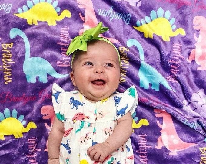 Personalized Baby Blanket, Dinosaur Blanket, Dino Blanket, Dinosaur Birthday, Newborn Swaddle, Baby Girl, Baby Boy, Velveteen Fleece