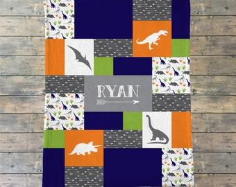 Personalized Baby Blanket Quilt, Dinosaur Blanket, Dino Theme Blanket, Baby Boy, Baby Girl, Name Blanket, Velveteen Fleece Quilt Print