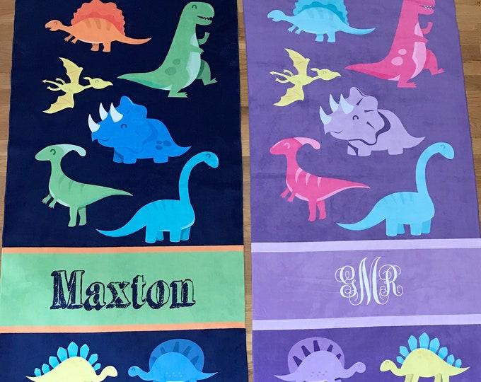 Personalized Dinosaur Beach Towel, Dino Dinosaurs, Monogram Towel, Camp Towel, Swim Towel, Pool Towel, Birthday Gift, Back to School