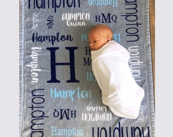 Personalized Baby Blanket, Personalized Name Blanket, Baby Boy, Baby Girl Blanket, Receiving Blanket, Baby Shower