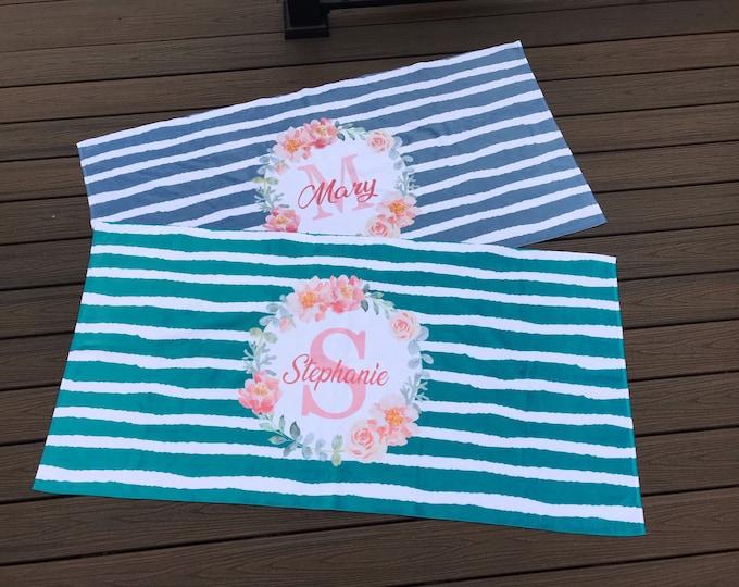 Mother's Day, Personalized Floral Monogram Beach Towel, Stripe Print Towel, Monogram Towel, Teacher, Mom, Bridesmaid, Birthday, Best Friend