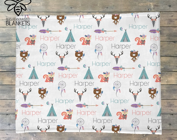 Personalized Baby Blanket, Baby Name Blanket, Boho, Dreamcatcher, Teepee, Forest Friends, Antler, Fox, Adventure