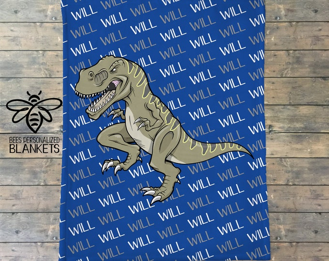 Personalized Blanket, T-Rex Name Blanket, Personalized Dinosaur Blanket, Dino Name Blanket, Dino Party Gift, Dinosaur Theme, BEST GIFT!